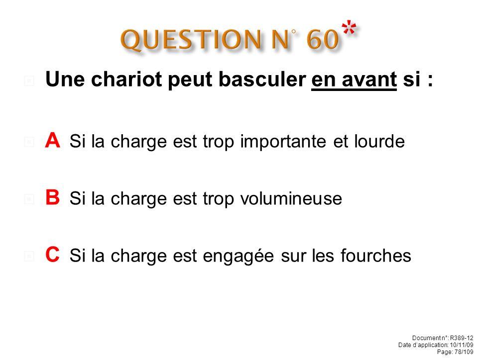 QUESTION N° 60* Une chariot peut basculer en avant si :