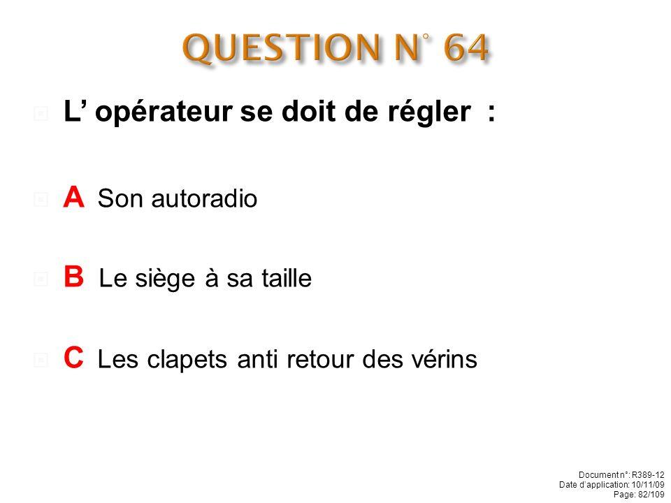 QUESTION N° 64 L' opérateur se doit de régler : A Son autoradio