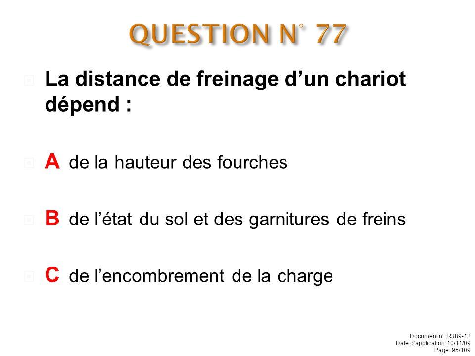 QUESTION N° 77 La distance de freinage d'un chariot dépend :