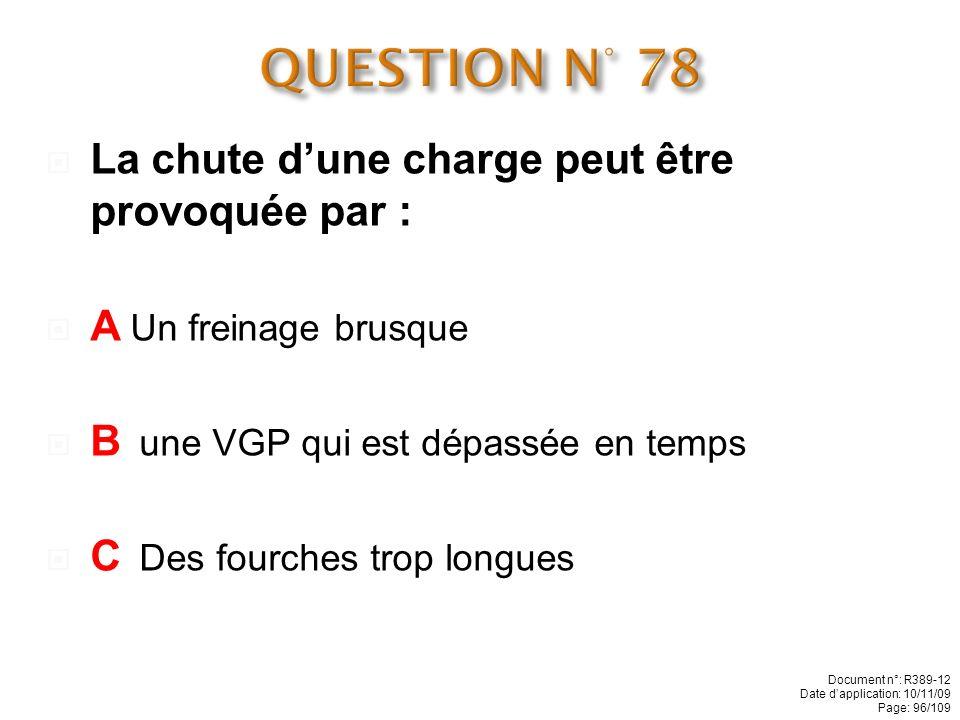 QUESTION N° 78 La chute d'une charge peut être provoquée par :