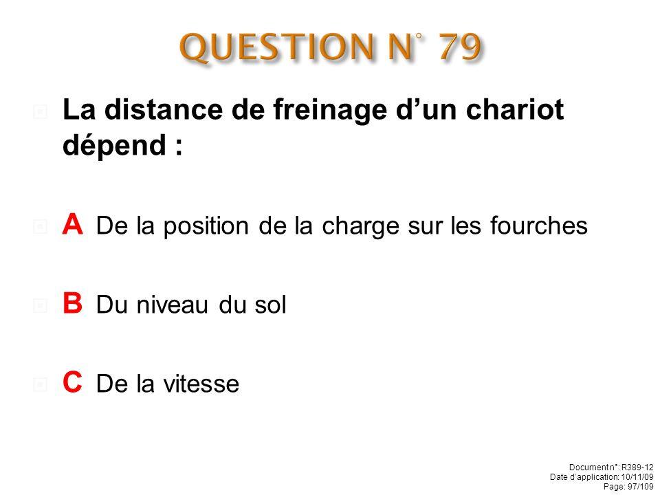 QUESTION N° 79 La distance de freinage d'un chariot dépend :