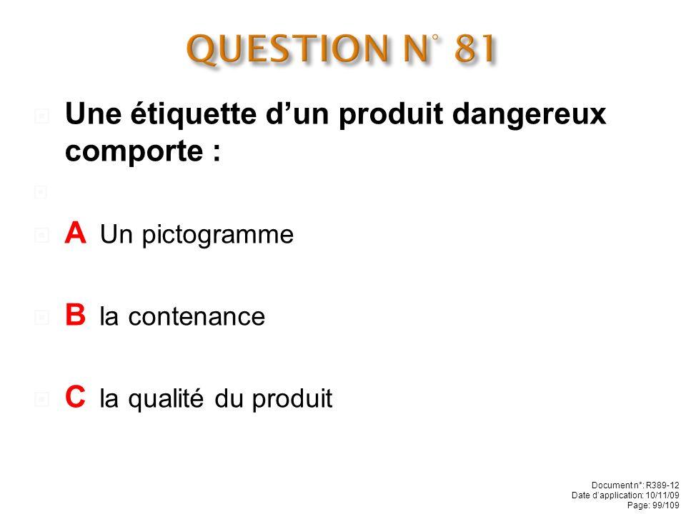 QUESTION N° 81 Une étiquette d'un produit dangereux comporte :
