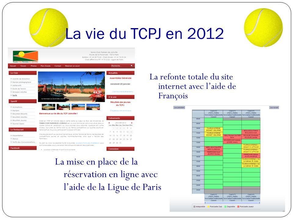 La vie du TCPJ en 2012 La refonte totale du site internet avec l'aide de François.