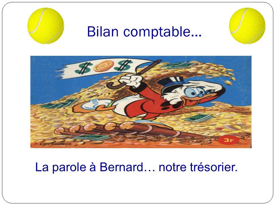 La parole à Bernard… notre trésorier.