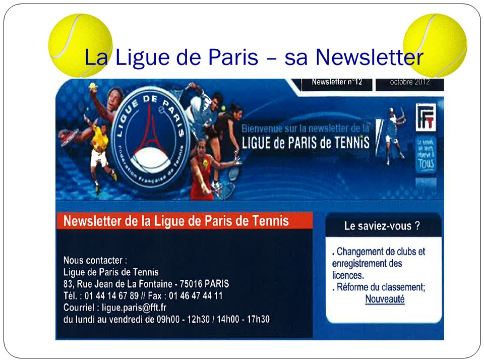 La Ligue de Paris – sa Newsletter