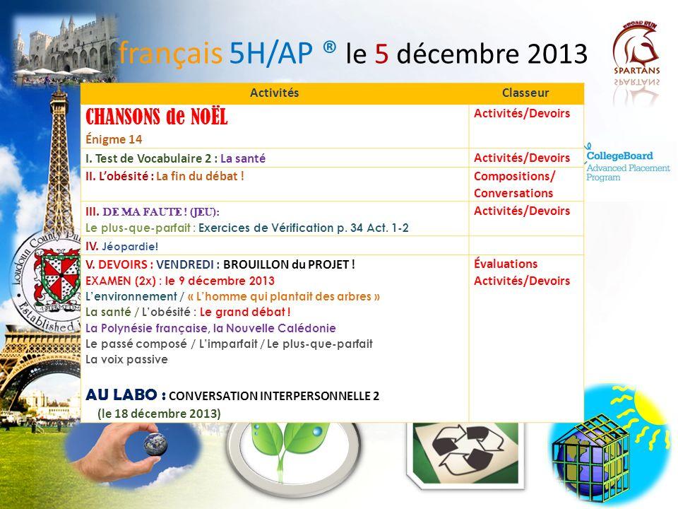 français 5H/AP ® le 5 décembre 2013