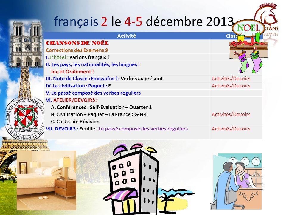 français 2 le 4-5 décembre 2013 Activité Classeur CHANSONS DE NOËL