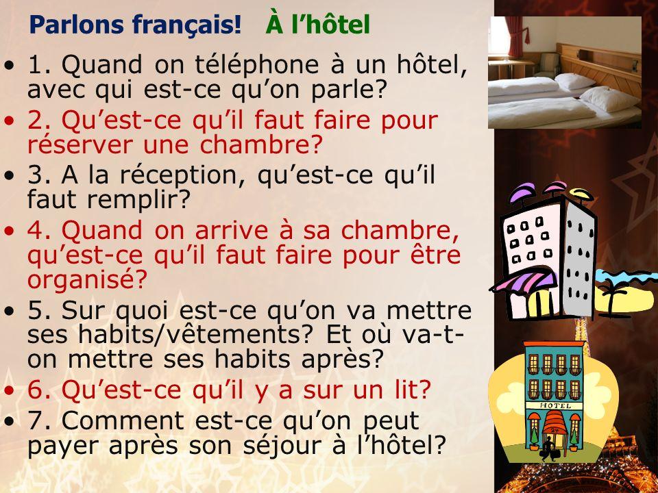 Parlons français! À l'hôtel