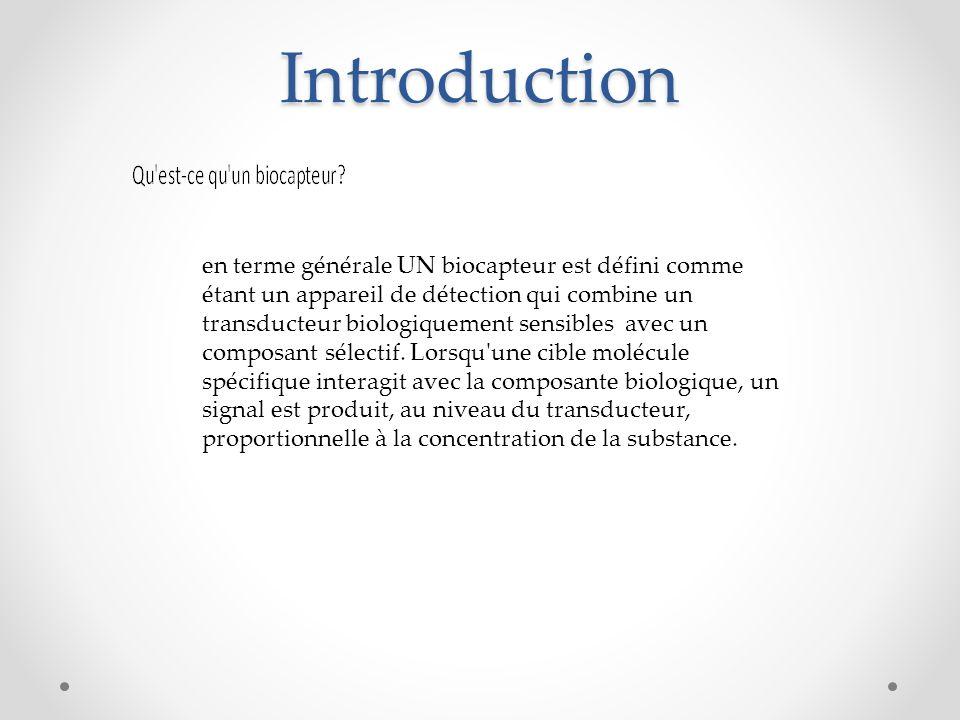Introduction en terme générale UN biocapteur est défini comme