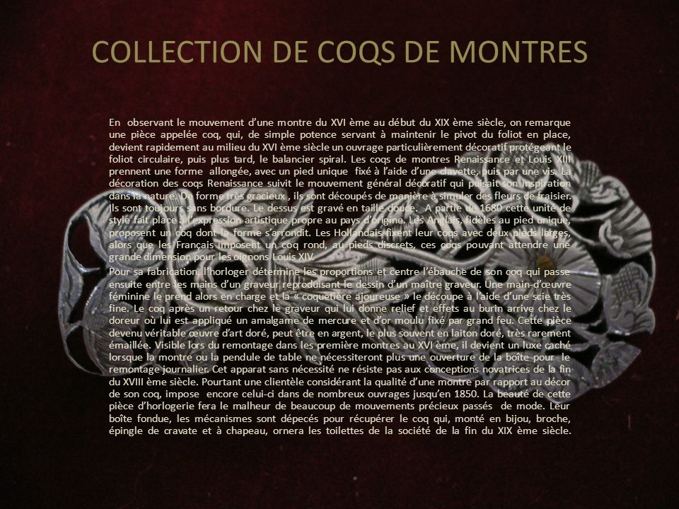 COLLECTION DE COQS DE MONTRES