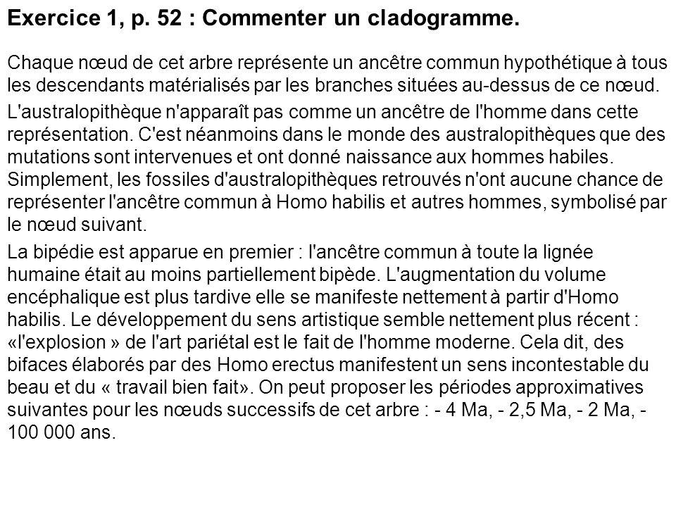 Exercice 1, p. 52 : Commenter un cladogramme.