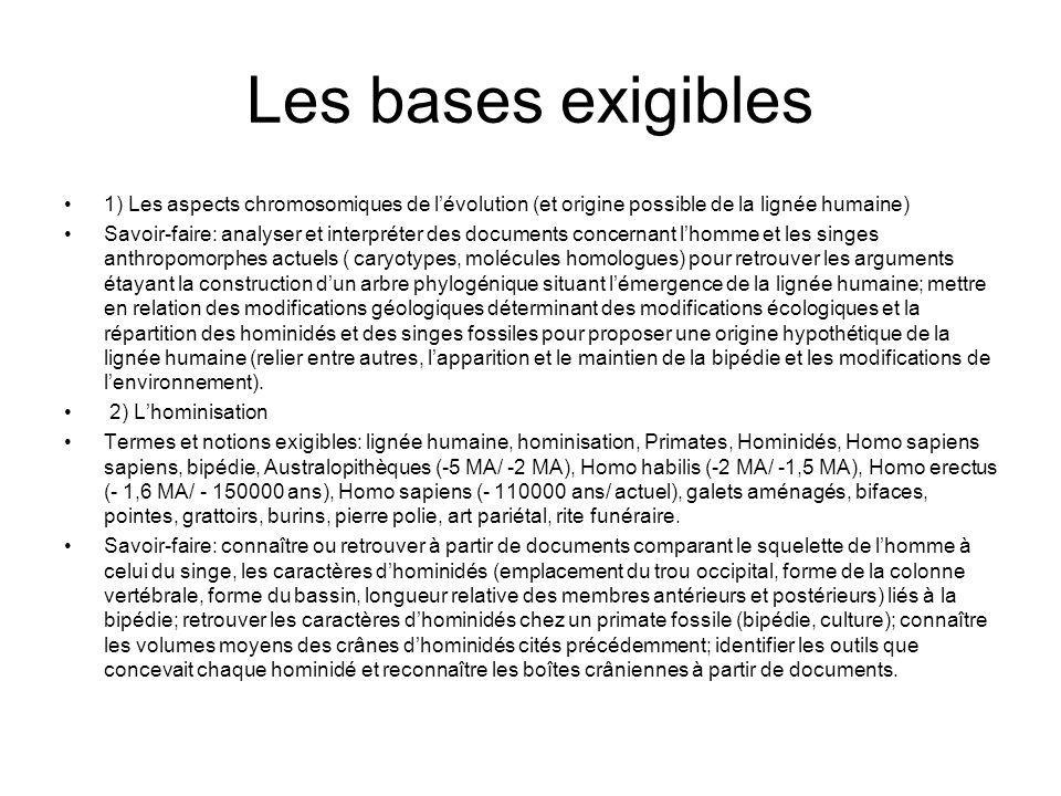 Les bases exigibles 1) Les aspects chromosomiques de l'évolution (et origine possible de la lignée humaine)