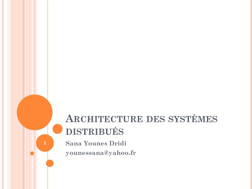 Architecture des systèmes distribués