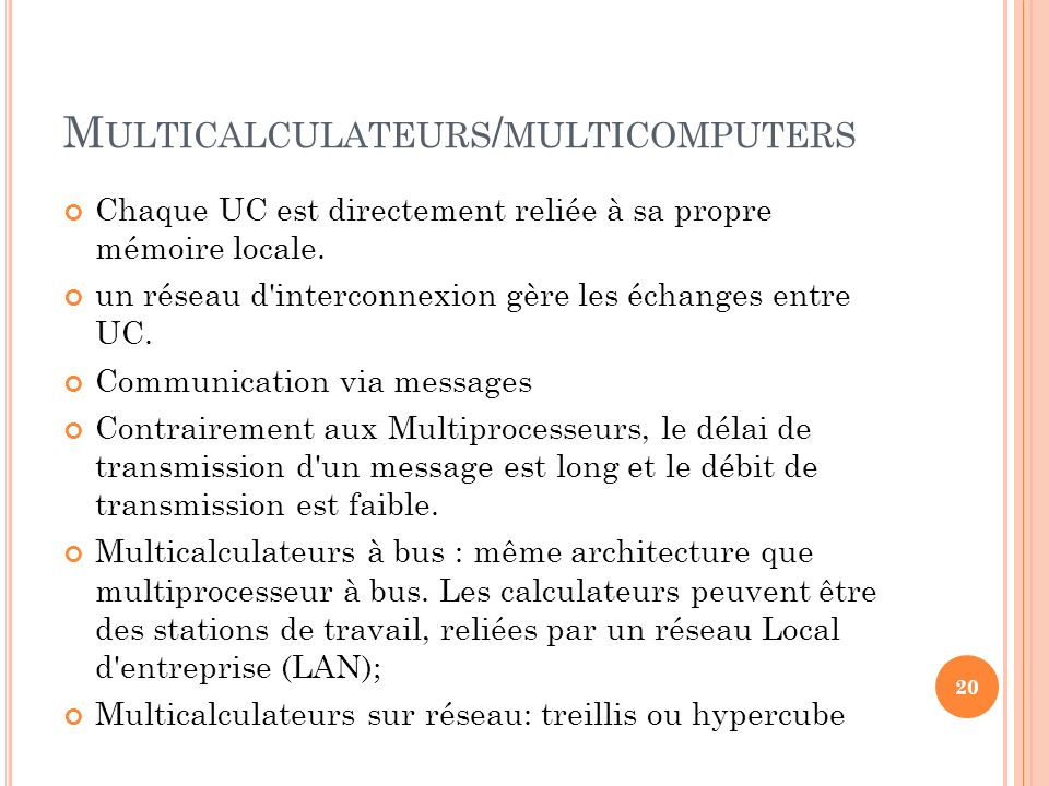 Multicalculateurs/multicomputers