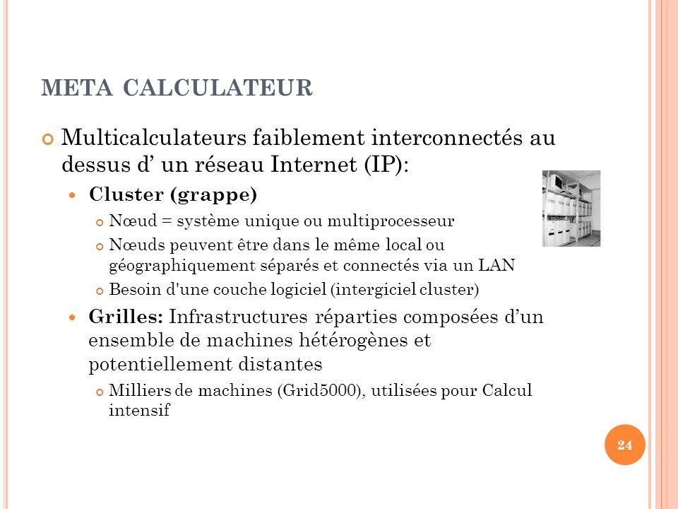 meta calculateur Multicalculateurs faiblement interconnectés au dessus d' un réseau Internet (IP):