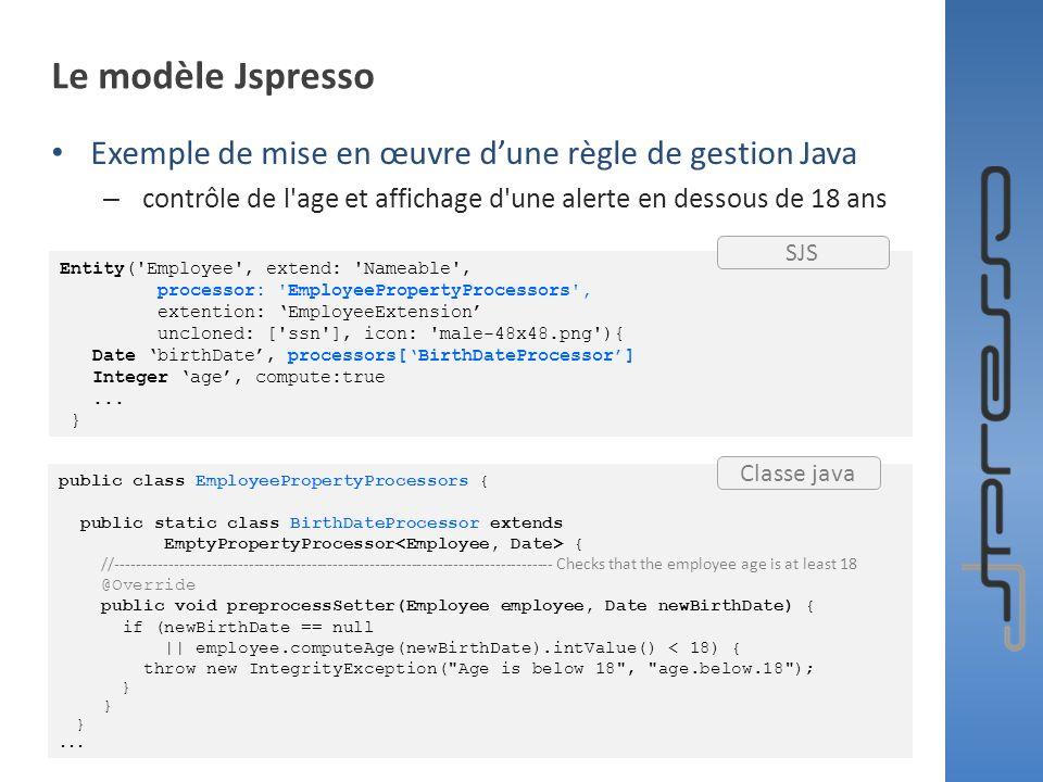 Le modèle Jspresso Exemple de mise en œuvre d'une règle de gestion Java. contrôle de l age et affichage d une alerte en dessous de 18 ans.