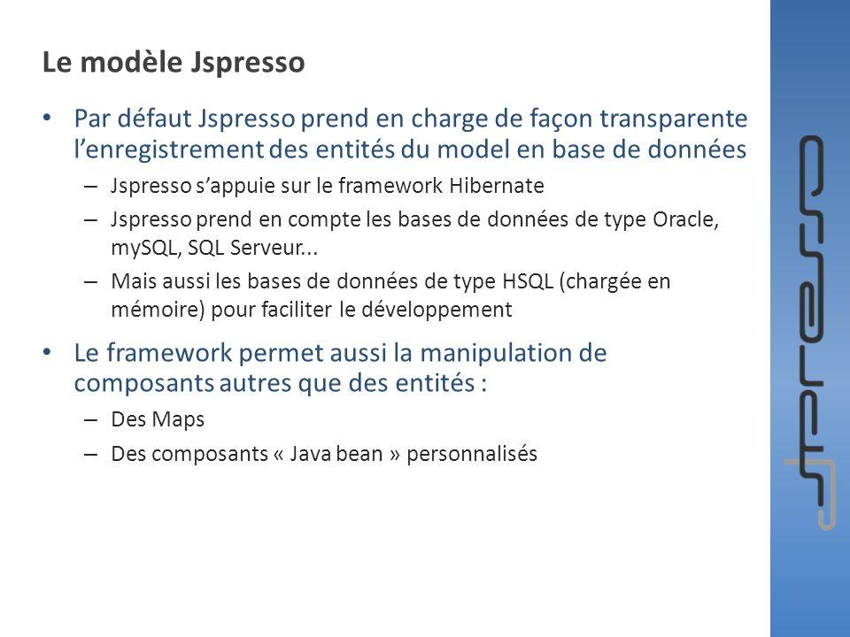 Le modèle Jspresso Par défaut Jspresso prend en charge de façon transparente l'enregistrement des entités du model en base de données.