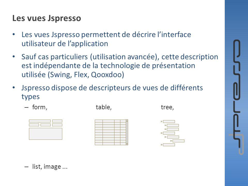 Les vues Jspresso Les vues Jspresso permettent de décrire l'interface utilisateur de l'application.