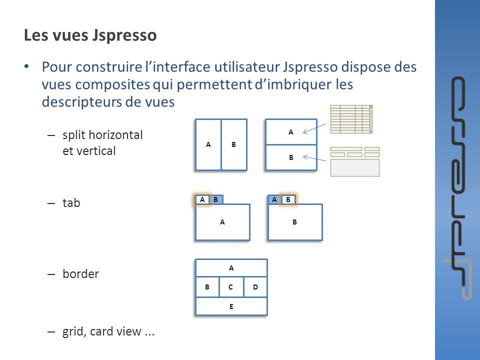 Les vues Jspresso Pour construire l'interface utilisateur Jspresso dispose des vues composites qui permettent d'imbriquer les descripteurs de vues.