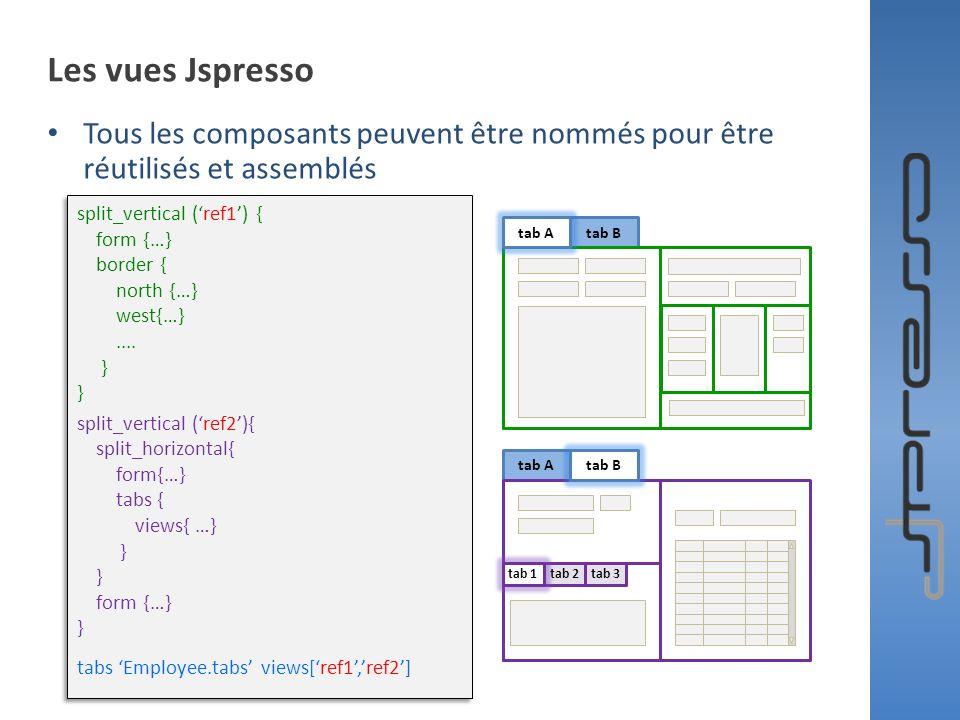 Les vues Jspresso Tous les composants peuvent être nommés pour être réutilisés et assemblés. split_vertical ('ref1') {