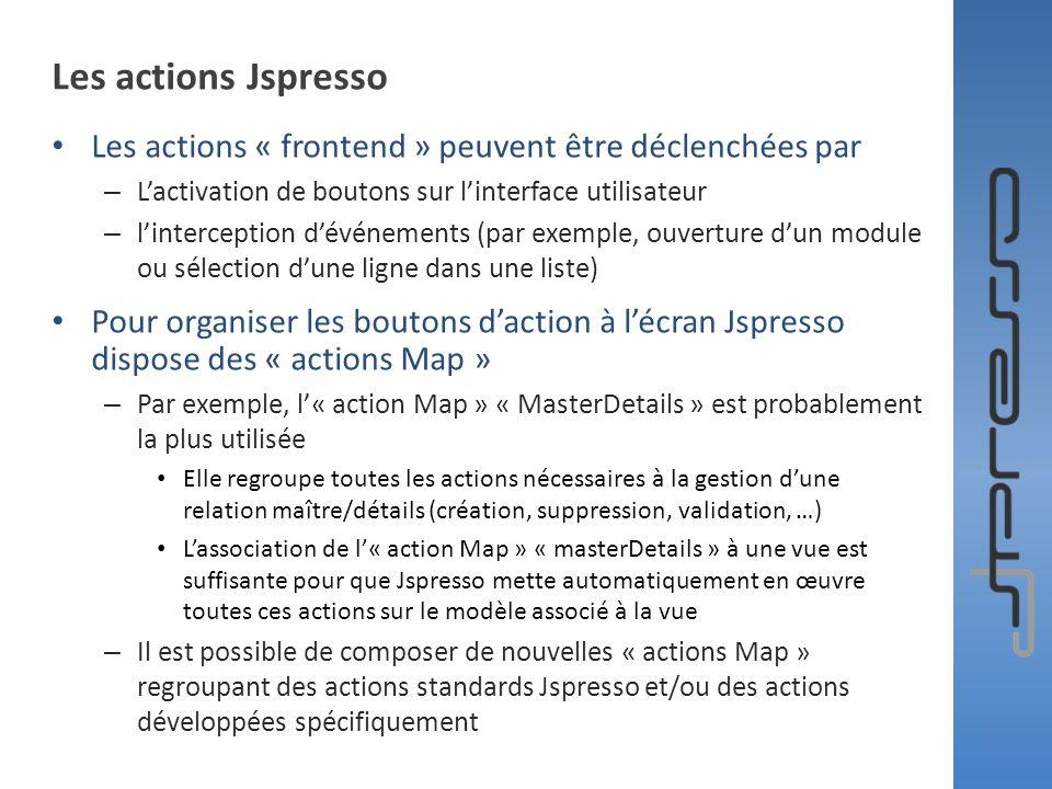 Les actions Jspresso Les actions « frontend » peuvent être déclenchées par. L'activation de boutons sur l'interface utilisateur.