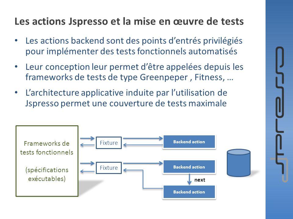 Les actions Jspresso et la mise en œuvre de tests