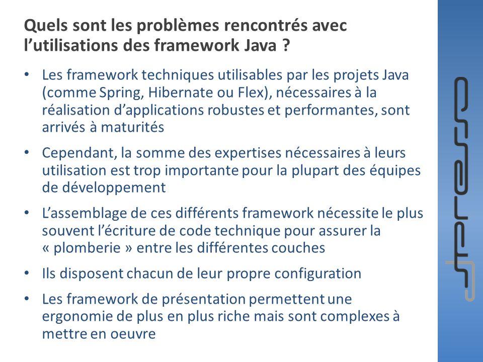Quels sont les problèmes rencontrés avec l'utilisations des framework Java