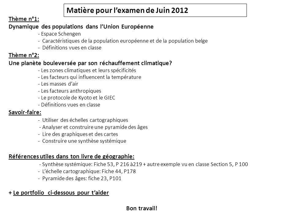 Matière pour l'examen de Juin 2012