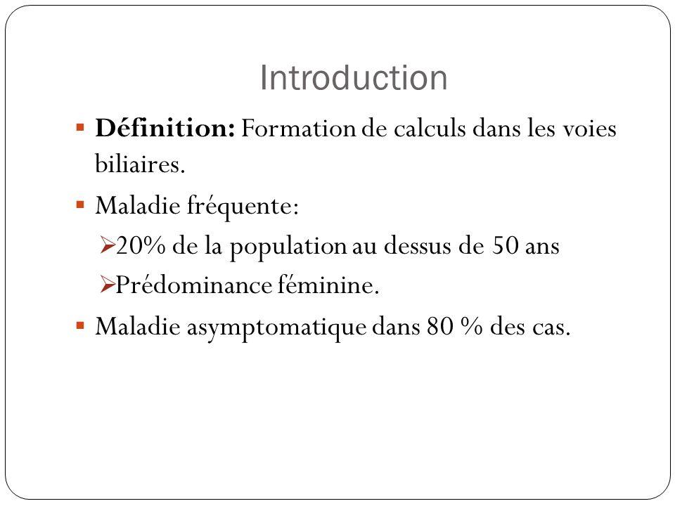 Introduction Définition: Formation de calculs dans les voies biliaires. Maladie fréquente: 20% de la population au dessus de 50 ans.