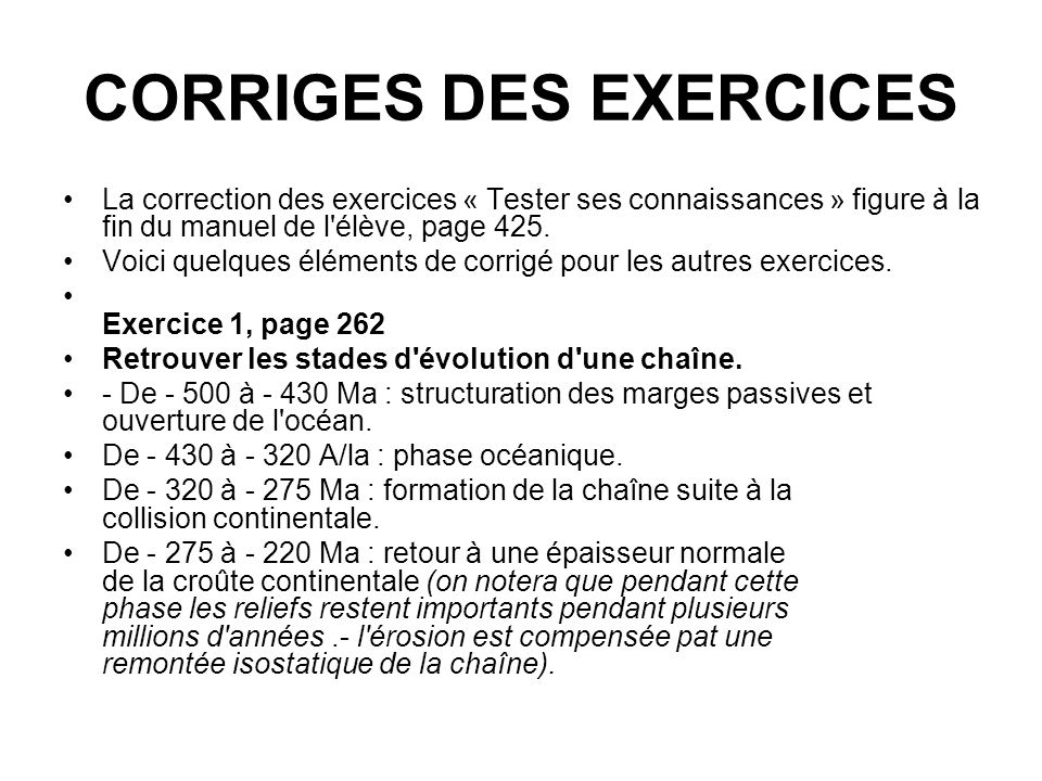 CORRIGES DES EXERCICES