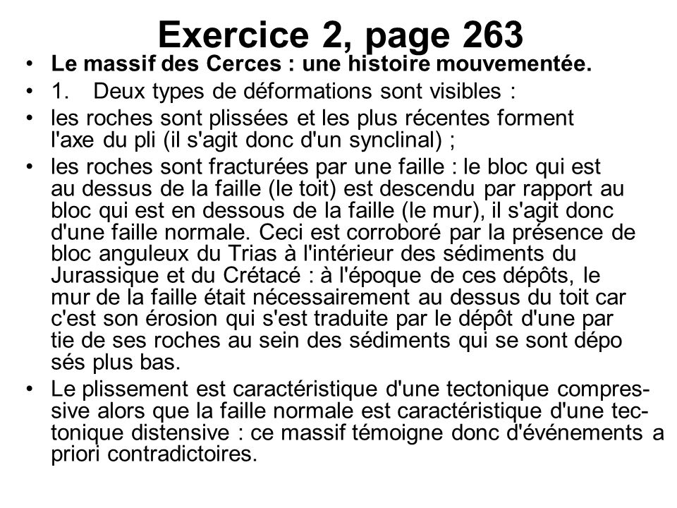 Exercice 2, page 263 Le massif des Cerces : une histoire mouvementée.