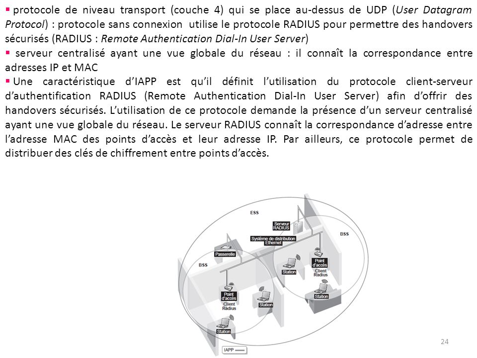 protocole de niveau transport (couche 4) qui se place au-dessus de UDP (User Datagram Protocol) : protocole sans connexion utilise le protocole RADIUS pour permettre des handovers sécurisés (RADIUS : Remote Authentication Dial-In User Server)