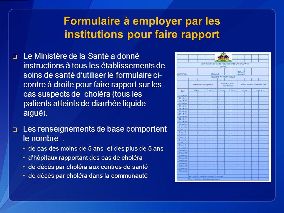 Formulaire à employer par les institutions pour faire rapport