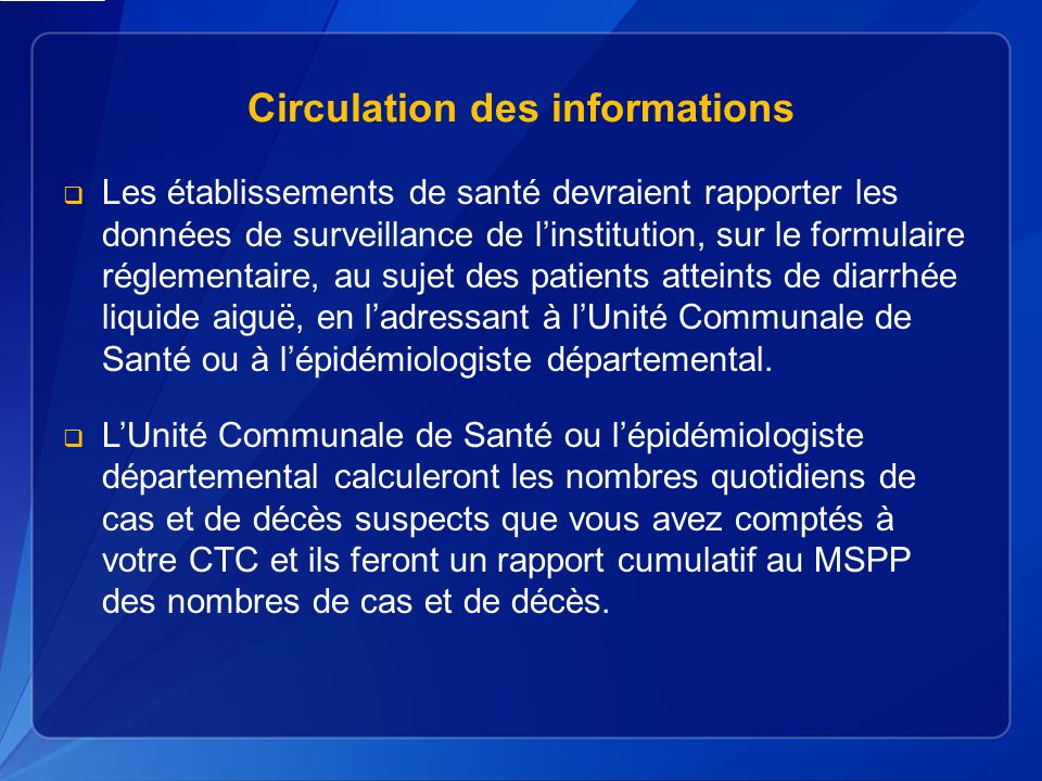 Circulation des informations