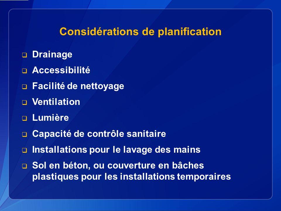 Considérations de planification
