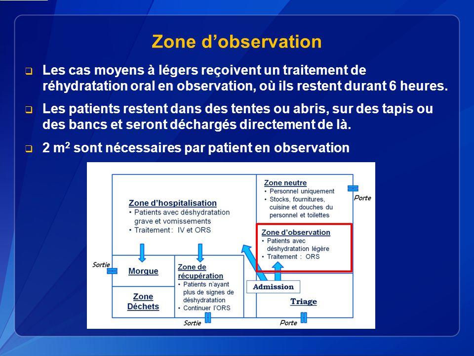 Zone d'observation Les cas moyens à légers reçoivent un traitement de réhydratation oral en observation, où ils restent durant 6 heures.