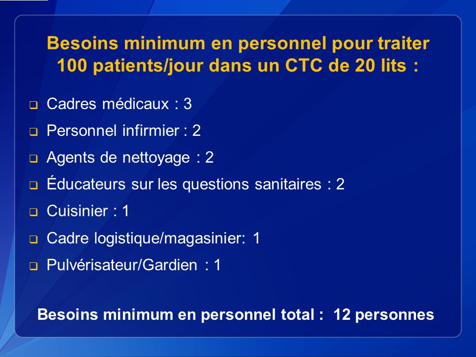 Besoins minimum en personnel total : 12 personnes