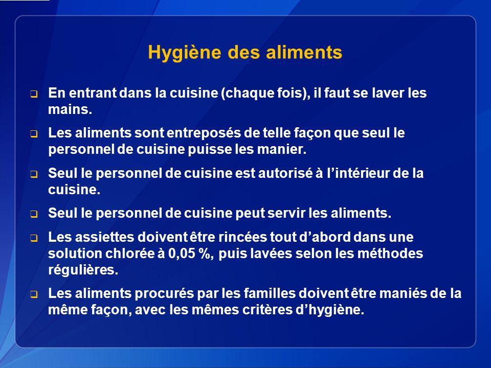 Hygiène des aliments En entrant dans la cuisine (chaque fois), il faut se laver les mains.