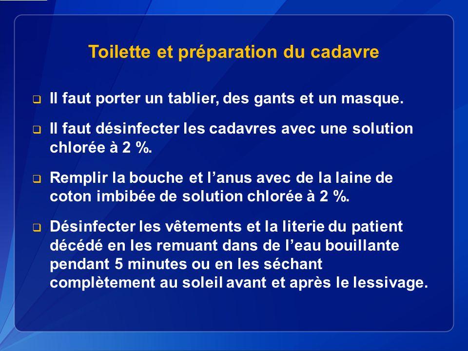 Toilette et préparation du cadavre