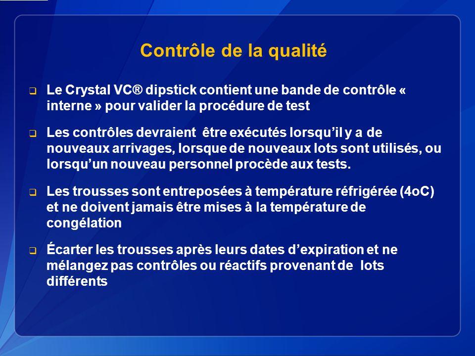 Contrôle de la qualité Le Crystal VC® dipstick contient une bande de contrôle « interne » pour valider la procédure de test.