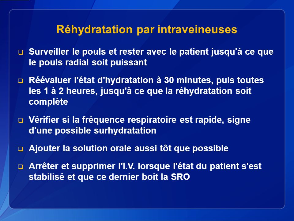 Réhydratation par intraveineuses