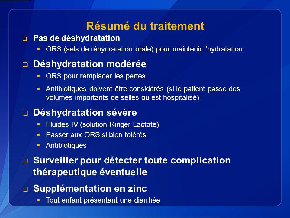 Résumé du traitement Déshydratation modérée Déshydratation sévère