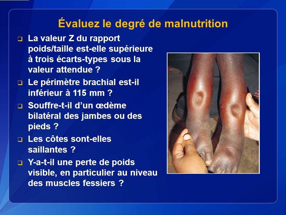 Évaluez le degré de malnutrition