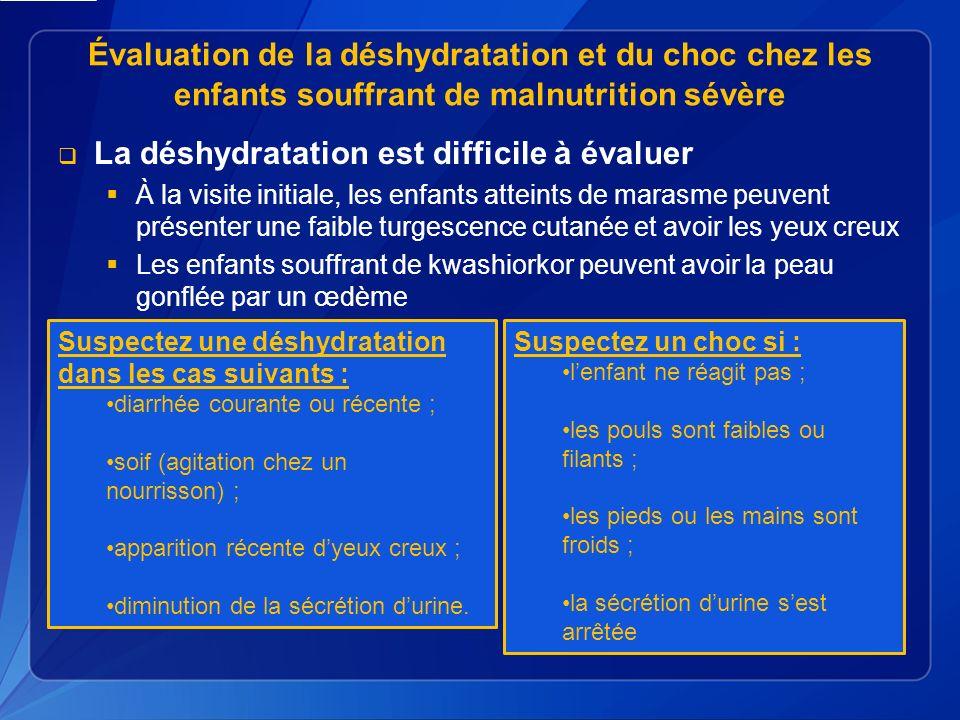 La déshydratation est difficile à évaluer
