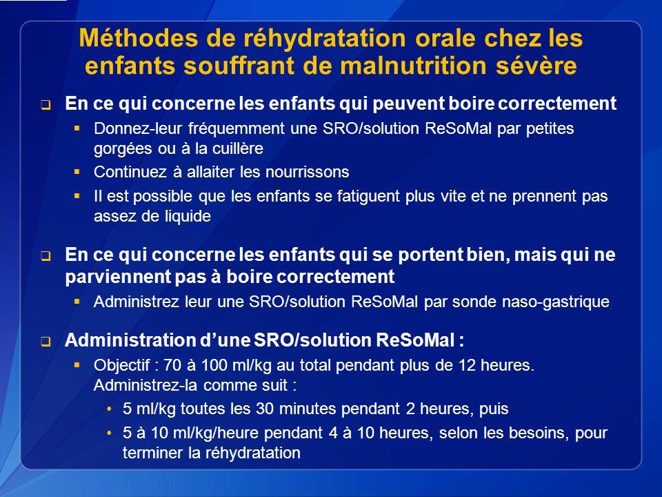 Méthodes de réhydratation orale chez les enfants souffrant de malnutrition sévère