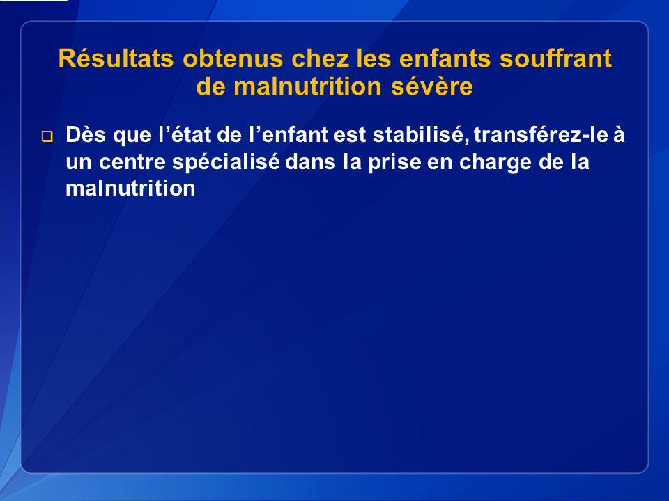 Résultats obtenus chez les enfants souffrant de malnutrition sévère