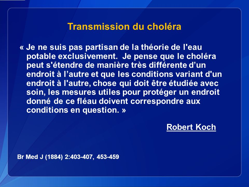 Transmission du choléra