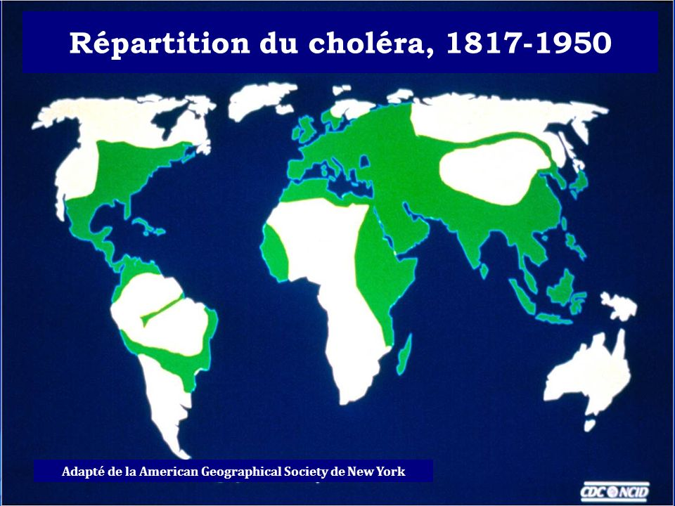 Répartition du choléra, 1817-1950