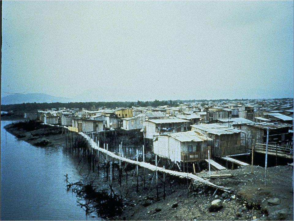 Cette diapositive montre un bidonville en Équateur qui fut lourdement affecté par le choléra.