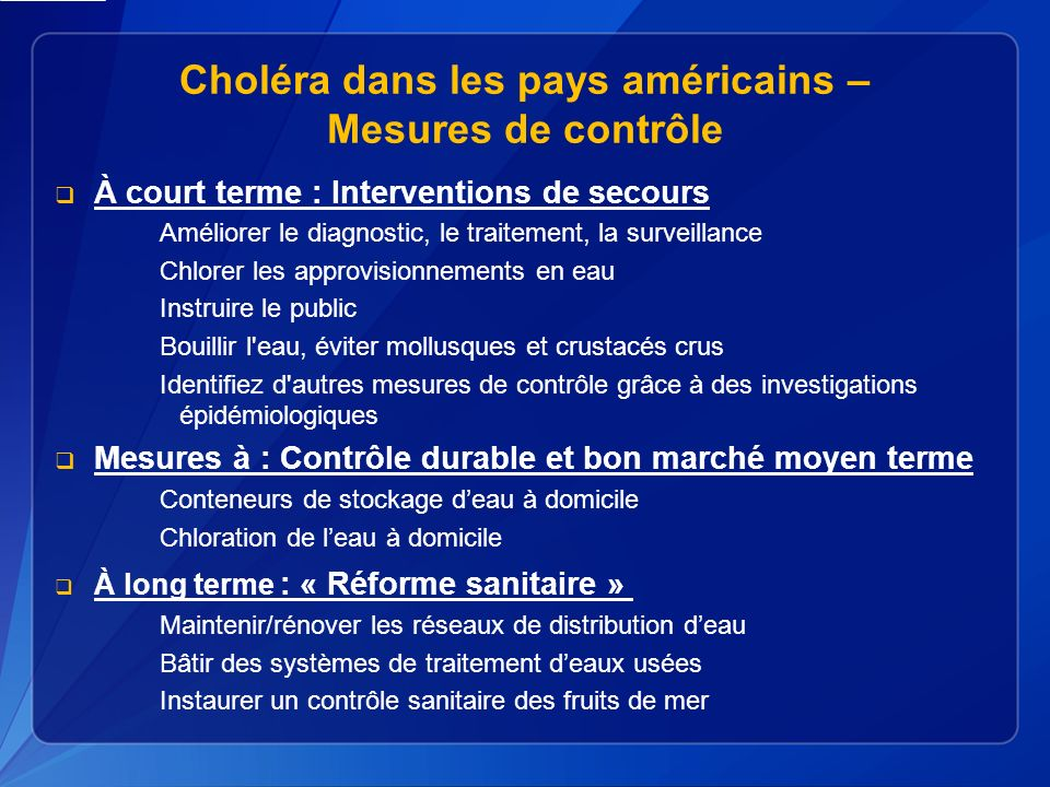 Choléra dans les pays américains – Mesures de contrôle